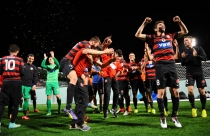 Celebrations after last night's win. PHOTO by Sebastian Giunta, www.sgphotographics.com.au