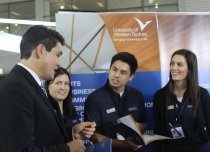 Geoff Lee drops into UWS stall at the 2012 Western Sydney Careers Expo.