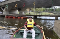 Lord Mayor, John Chedid on Parramatta River in a row boat.