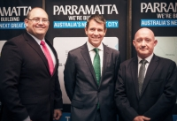 Lord Mayor Scott Lloyd, Premier Mike Baird and Parramatta Chamber of Commerce President, Roger Byrne.