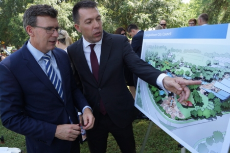 Campbelltown Mayor George Brticevic and MP Alan Tudge with artict impressions of the project.