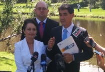 "Geoff Lee with Minister for Planning Pru Goward and Parramatta City Council, Lord Mayor Scott Lloyd at the official release of the ""Plan for Growing Sydney""."