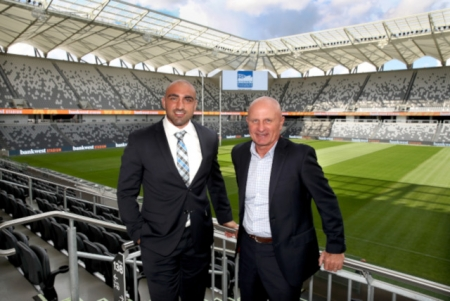 Parramatta Eels legends, Tim Mannah and Peter Sterlng at the first corporate event at Bankwest Stadium.