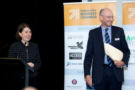 NSW Premier Gladys Berejiklian and Hills Chamber Chairman Anthony Moss at the lunch.