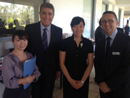 From left: Jim Taggart OAM, Tracy Ma, Administration Officer MNT Services, Tony Eades and Pei Shixin Deputy Director General of the Commerce Department of Hebei Province.