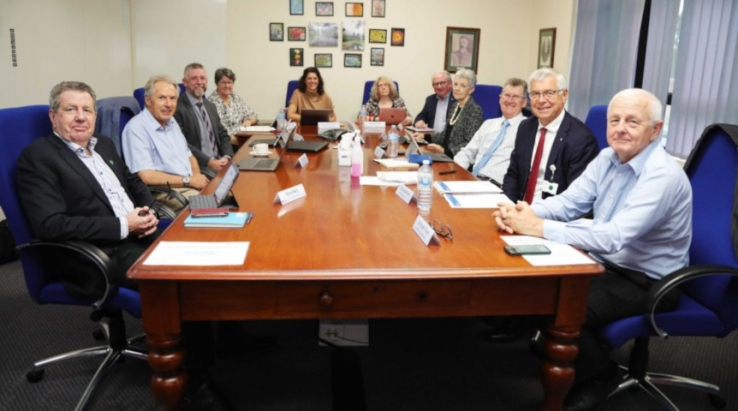WSLHD Board members. Left to right: Adjunct Professor Mick Reid, Professor Don Nutbeam, WSLHD chief executive Graeme Loy, Adjunct Professor Debra Thoms, Deputy chair Loretta Di Mento, Narelle Bell, Dr Keith Hartman, Professor Diana O'Halloran AO, Andrew Bernard, Board Chair Richard Alcock AO, and Professor Michael Edye.