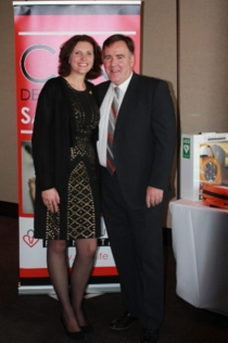 Michael Hughes Foundation executive director Julie Hughes with patron and supporter, Lawrie McKinna, also chief executive of the Newcastle Jets.