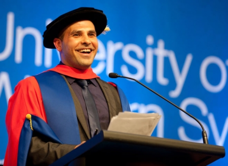 Dr Hazem El Masri delivers the occasional address at the UWS spring graduation. PHOTO: Milestones Photography.