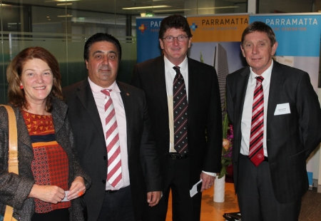 Suellen Fitzgerald, Director of Western Sydney Parkland Trust, Lord Mayor of Parramatta, Cr John Chedid, Chief Executive of the Parramatta Eels, Ken Edwards, Executive Chairman of the Western Sydney Wanderers FC, Lyall Gorman