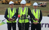 PM Scott Morrison, centre, at the Western Sydney Aiport site recently.