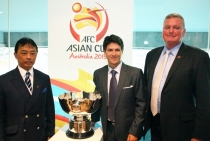 Michael Brown with AFC Asian Cup Organising Committee Chairman HRH Prince Abdullah Shah and Minister Victor Dominello.
