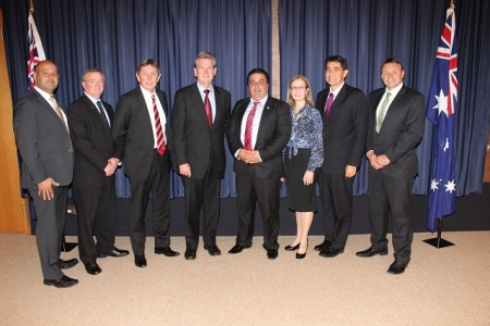 Premier Barry O'Farrell, (fourth from left) and Sports and Recreation Minister Gabrielle Upton, and Parramatta MP Geoff Lee (second from right) met with the delegation from Parramatta's sports precinct advisory group sporting delegation, including (from left) Eels deputy chairman Tom Issa, PCYC's Chris Gardiner, Wanderers CEO Lyall Gorman, Lord Mayor, Cr John Chedid and Eels Chairman Stephen Sharp