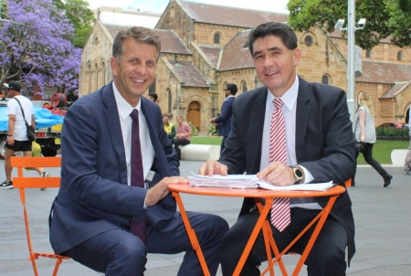 Geoff Lee with Minister for Transport and Infrastructure, Andrew Constance.