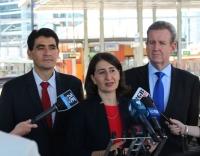 Geoff Lee joins Premier, Barry O'Farrell and Transport Minister, Gladys Berejiklian MP at Parramatta Station