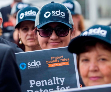 Shop Distributive and Allied Employees Union members protest the move to slash penalty rates for Sunday and public holiday workers.