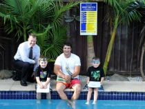 High-profile Hills residents Nathan Hindmarsh and David McAllister got behind Council's campaign to alert all pool owners to register their pool.