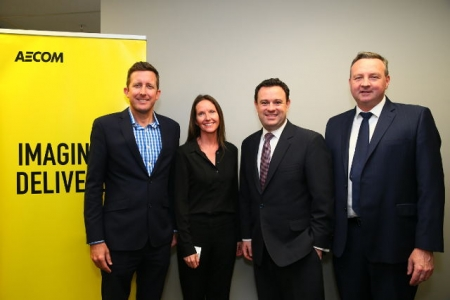 Todd Battley, AECOM CEO, Justine Kinch, Western Sydney Director, AECOM, Stuart Ayres, Minister for Western Sydney and David Borger, Western Sydney Director, Sydney Business Chamber.