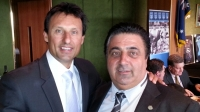 Lord Mayor Cr John Chedid shows his support to Blues Coach Laurie Daley.