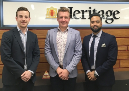 Heritage Bank Area Branch Manager Corey Warwick (centre) with Heritage Bank Mobile Lenders Ryan Ferguson (left) and Deepak Gyawali.