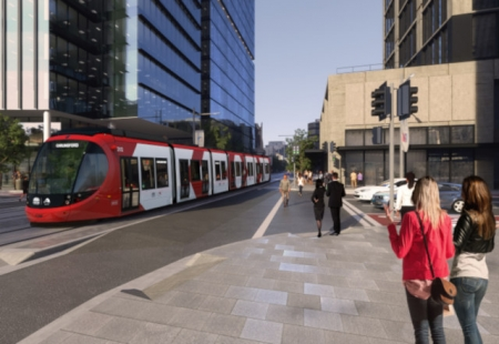 Artist impression of Parramatta Light Rail near Western Sydney University Campus in Parramatta.