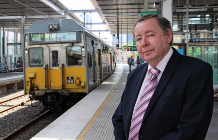 Parramatta Lord Mayor, Paul Garrard at Parramatta Station.