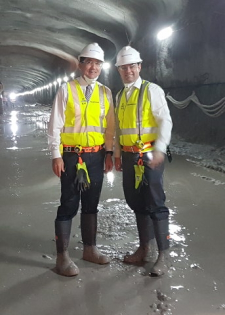 Geoff Lee joins Minister for WestConnex, Stuart Ayres on the site of the new M5 tunnel.