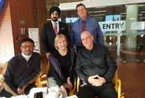From left, front, Asif Dewan, Irene Ross, Ian Faulkner, back Jay Singh Ahluwalia and Peter Filmer.