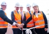 Cutting the ribbon at the topping out ceremony on the WSU Parramatta Square development, from left, Professor Barney Glover, Western Sydney University; Mike Baird, NSW Premier Andrew Borger, Charter Hall; Greg Dyer, CEO, City of Parramatta and Amanda Chadwick, City of Parramatta Administrator.