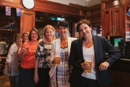 NSW Opposition Leader Jodi McKay with locals at the Royal Oak.