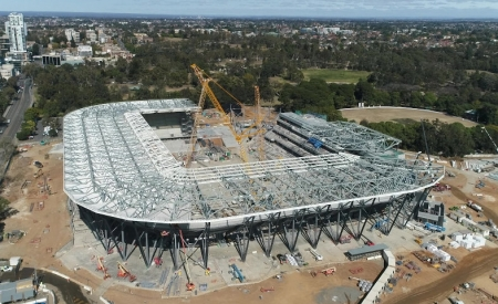 Drone view of Western Sydney Stadium construction work.
