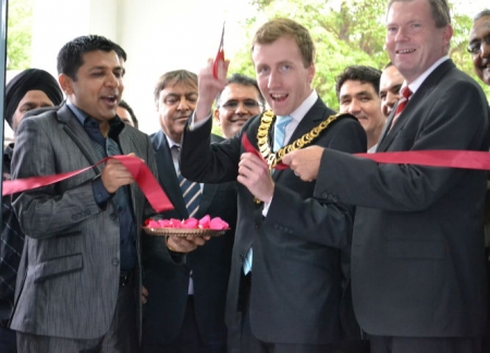 Mayor Ross Grove pictured with Sanjay Patel from Patel Bros Supermarket and Nathan Rees MP at the opening of the Patel Bros supermarket in Wentworthville.