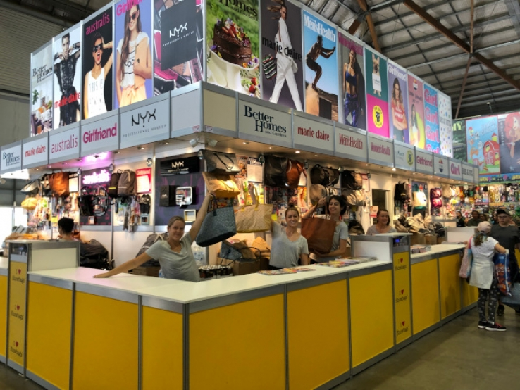 Last year's display stall for a range of showbags at the Royal Easter Show with Tilda Chiu's team. (photo supplied).