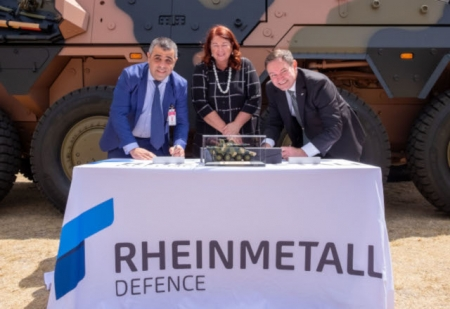 PMG CEO Jason Elias (left) with Minister for Defence Industry Melissa Price and a Rheinmetall representative at the launch.