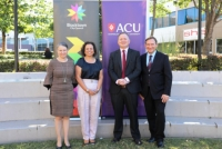 Shadow Minister for Universities and Equality Senator Louise Pratt, Federal Member for Greenway Michelle Rowland MP, ACU Deputy Vice-Chancellor Hayden Ramsay, Blacktown City Mayor Stephen Bali MP.