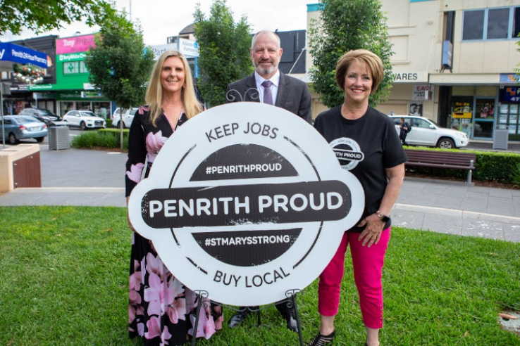 Penrith Mayor Karen McKeown OAM (right) joined by Debbie O'Connor (owner of White River Design, and The Creative Fringe) and Phil Willey (franchisee, Quest Penrith) at the launch of Penrith Proud, an initiative to buy locally to support local businesses.