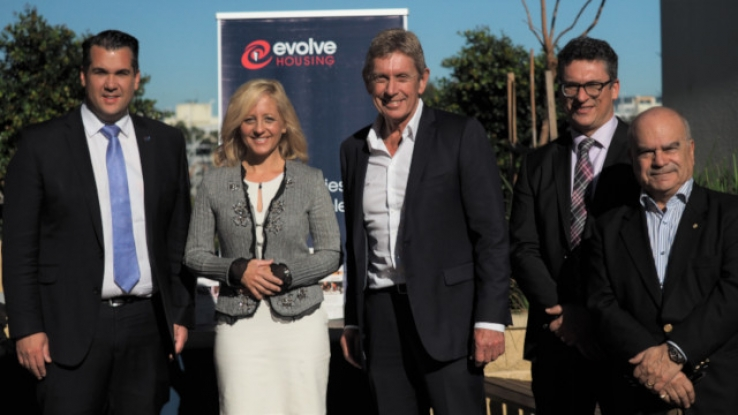 Minister Michael Sukkar, Assistant Treasurer and Minister for Housing; Melissa McIntosh MP, Member for Lindsay; Evolve Housing CEO Lyall Gorman; National Housing Finance and Investment Corporation CEO Nathan Dal Bon; and NHFIC Board Member Tony De Domenico OAM.