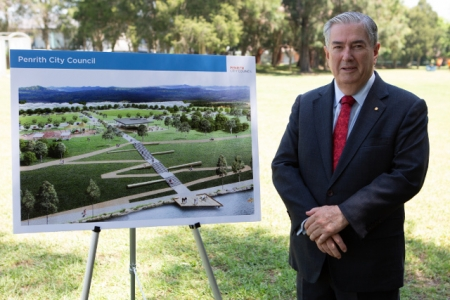 Penrith Mayor Ross Fowler with an artist impression of the project.
