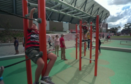 The chikldren's play area at Bankwest Stadium.