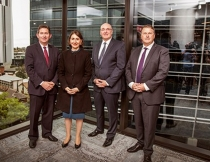 (L-R) Professor Ian Jacobs, Vice-Chancellor and President, UNSW Sydney; The Hon Gladys Berejiklian MP, New South Wales Premier; Professor Barney Glover, Vice-Chancellor and President, Western Sydney University; David Harrison, Group CEO, Charter Hall.