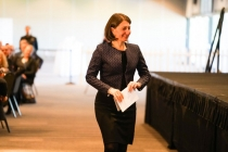 Premier Gladys Berijiklian walks to the stage to deliver the State Of The Region address..