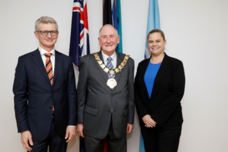 City of Parramatta CEO Brett Newman, Bob Dwyer and Michelle Garrard.