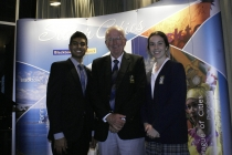 Stephanie and Abishek with Blacktown City Mayor, Councillor Len Robinson.