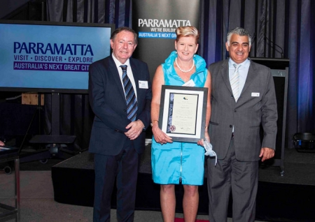 Lord Mayor of Parramatta, Cr Paul Garrard, Stephanie Dale and Michael Mekhitarian, President of Parramatta Chamber.