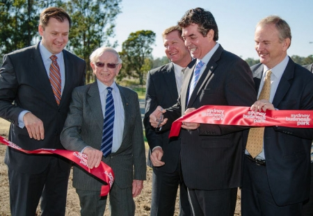Member for Chifley, Ed Husic MP, Blacktown Deputy Mayor, Russ Dickens, Parliamentry Secretary for Western Sydney, Ray Williams MP and Member for Riverstone, Kevin Connolly MP open the new park.