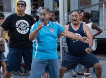 Rawiri Ita, Chairman of Maori Wardens Australia, performs the Haka.