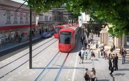 Artist impression of the light rail passing through Parramatta.